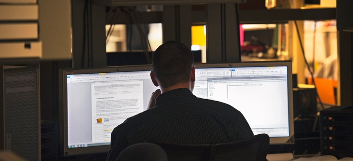 An analyst works at the Department of Defense Cyber Crime Center in Linthicum, Md., Aug. 11, 2011. A network outage to the Pentagon Police in January rendered the agency blind across three states in the capitol region.
