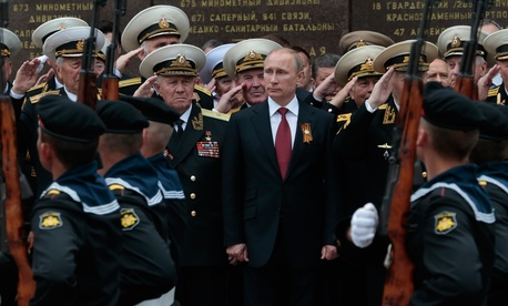Russian President Vladimir Putin attends a parade marking the Victory Day in Sevastopol, Crimea, May 9, 2014.