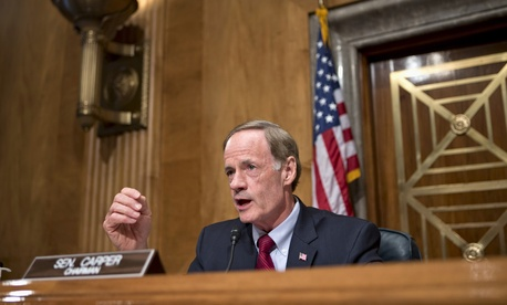 Sen. Tom Carper, D-Del, speaks during a hearing of the Senate Homeland Security and Governmental Affairs Committee.