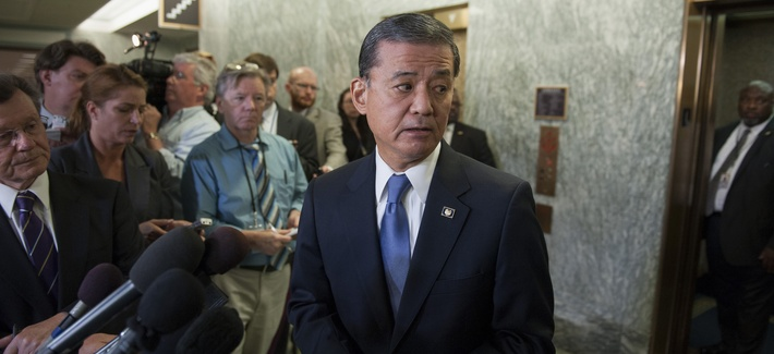 Veterans Affairs Secretary Eric Shinseki speaks at a press conference following a congressional hearing on widespread treatment delays at VA facilities across the country.