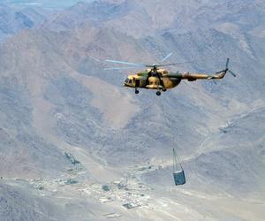 An Afghan air force flies an Mi-17 transport to Orgun-e on July 1, 2010.