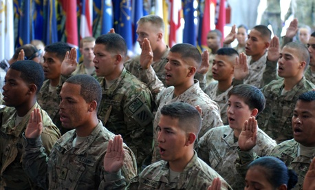37 U.S. troops from 22 countries take the Oath of Allegiance during a ceremony at Bagram Air Field in Afghanistan on July 4, 2013.