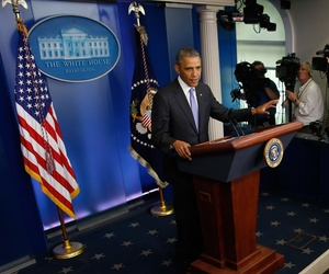 President Obama speaks to reporters about the burgeoning scandal at the Veterans Affairs Department on May 21, 2014.