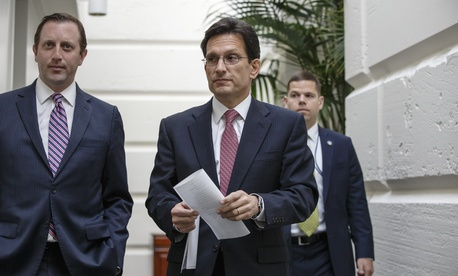 House Majority Leader Rep. Eric Cantor R-Va., arrives for a Republican strategy meeting on Capitol Hill on May 7, 2014.