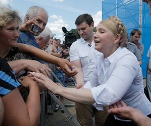 Ukrainian presidential candidate Yulia Tymoshenko is welcomed by his supporters during a rally in Priluki, Ukraine, Thursday, May 22, 2014.