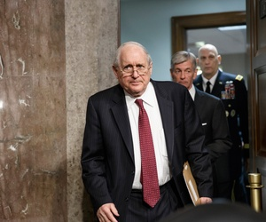 Senate Armed Services Committee Chairman Sen. Carl Levin, D-Mich., followed by Army Secretary John M. McHugh, center, and Army Chief of Staff Gen Raymond Odierno, emerges from a private meeting on Capitol Hill in Washington, April 3, 2014.