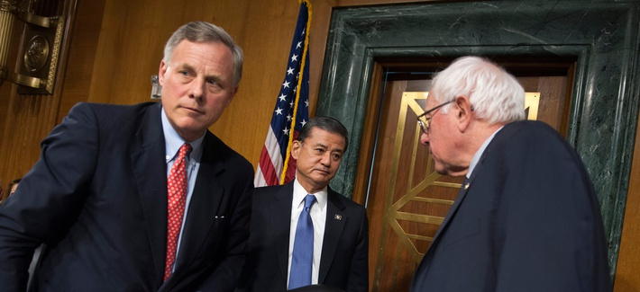 Veterans Affairs Secretary Eric Shinseki, center, meets with Senate Veterans Affairs Committee Chairman Sen. Bernie Sanders, I-Vt., right, and the committee's ranking member Sen. Richard Burr, R-N.C., in Washington, May 15, 2014.