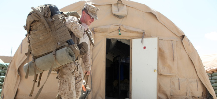 U.S. Marine Cpl. Jeffrey Mount, of Hendersonville, Tenn., prepares to leave Forward Operating Base Nolay in Helmand province on May 2.