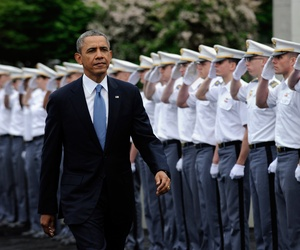 President Barack Obama arrives to deliver the commencement address to the U.S. Military Academy at West Point's Class of 2014, Wednesday, May 28, 2014, in West Point, N.Y.