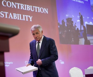 Defense Secretary Chuck Hagel warned China to end provocations and ensured U.S. leadership in the Asia-Pacific region at the Shangri-La Dialogue in Singapore on Friday.