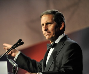 Sloan Gibson, former head of the United Services Organizations and current acting secretary of the Department of Veterans Affairs, delivers remarks as he launches the 2012 USO Gala at the Washington Hilton in Washington, D.C., Nov. 2, 2012.