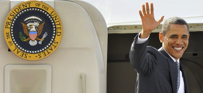 President Obama returns home after a trip to Normandy in June 2009.