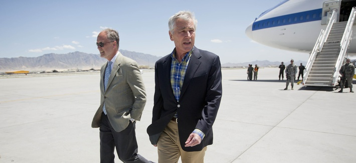 Defense Secretary Chuck Hagel lands in Afghanistan on Sunday to visit U.S. troops and military leaders at Bagram Air Base after the release of American POW Sgt. Bowe Bergdahl. with U.S. Ambassador James Cunningham,