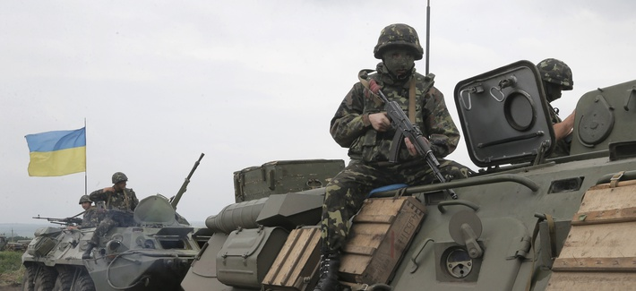Ukrainian army paratroopers move to position in Slovyansk, Ukraine, on Saturday.