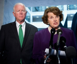 Senate Intelligence Committee Chair Sen. Dianne Feinstein, D-Calif., and Vice Chair Sen. Saxby Chambliss, R-Ga., speak to reporters on Capitol Hill on June 3, 2014.