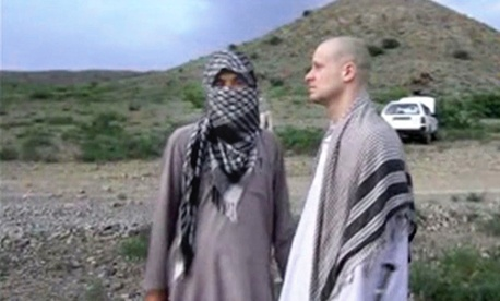 A screenshot, taken on June 4, 2014, shows the handover of Army Sgt. Bowe Bergdahl to U.S. forces.