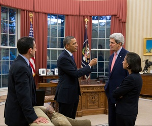 President Obama meets with Secretary of State John Kerry, National Security Advisor Susan Rice and White House Coordinator for Middle East, North Africa and the Gulf Phil Gordon on November 22, 2013.