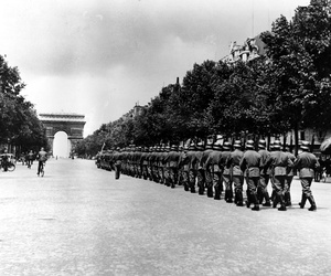 German troops march down the Champs-Élysées in Paris, on Sept 8, 1944.
