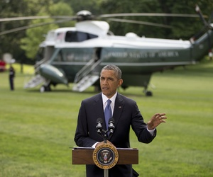 President Obama speaks to reporters on the situation in Iraq in the South Lawn of the White House, on June 13, 2014.