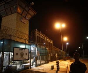 The entrance to the Camp VI detention facility at Guantanamo Bay Naval Base, Cuba is guarded, on November 20, 2013.