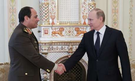 Russian President Vladimir Putin meets with Egyptian President Abdel Fattah al-Sissi in Moscow, on February 13, 2014.