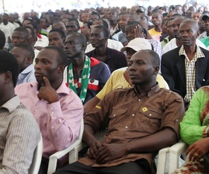 Nigerian soccer fans watch their country play Greece on a screen in a park in Lagos during the 2010 World Cup, on June 17, 2010.