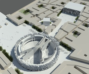A model of the London-based architecture firm Assemblage's plan for a new parliamentary complex in Baghdad, Iraq.