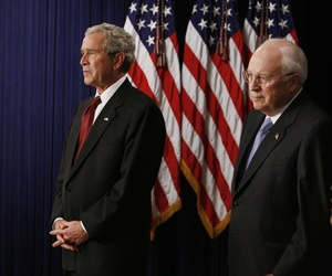 Former President George Bush and Vice President Dick Cheney await the swearing-in ceremony for Budget Director Jim Nussle, on September 10, 2007.