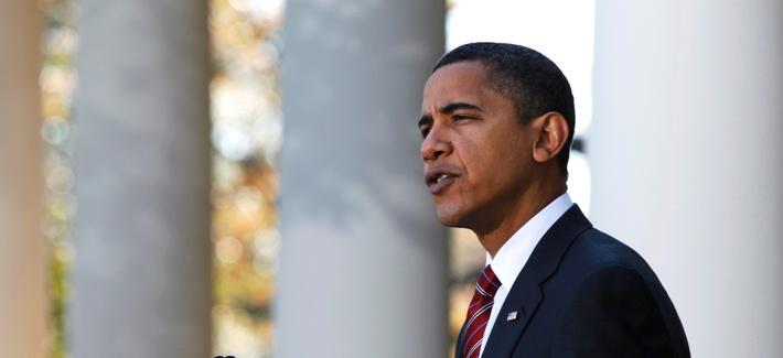 President Barack Obama speaks in the Rose Garden of the White House about health care reform and Iraq's new electoral law after returning from Camp David on Nov. 8, 2009, in Washington.