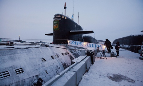 A Yekaterinburg nuclear submarine is pictured after a massive fire engulfed a Russian nuclear submarine at an Arctic shipyard in Gadzhiyevo in the Murmansk region of northwest Russia Dec. 9, 2010.