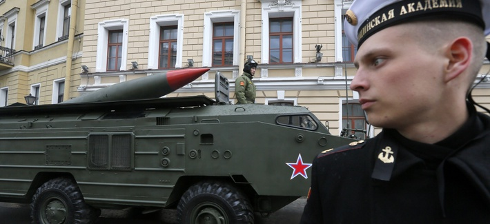A 'Tochka' missile launch travels during a rehearsal for the Victory Day parade on May 5, 2014.