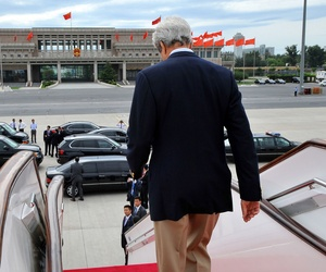 Secretary of State John Kerry arrives in Beijing, China, for the Strategic and Economic Dialogue with China, on July 8, 2014.