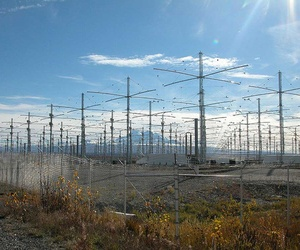 A photo of the HAARP radio array in Alaska.