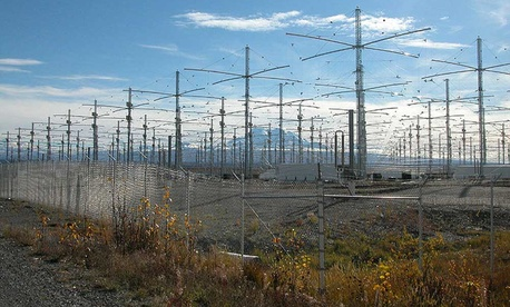 A photo of the HAARP radio array in Alaska.