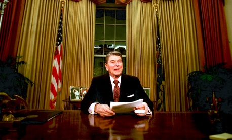 President Ronald Reagan is seen right before he delivers his farewell address to the nation in the Oval Office, on January 12, 1989.