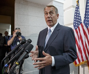House Speaker Rep. John Boehner, R-Ohio., speaks to reporters on Capitol Hill, on June 18, 2014.