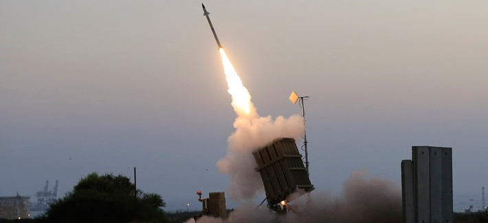 An Iron Dome air defense system fires to intercept a rocket from Gaza Strip in the costal city of Ashkelon, Israel, July 5, 2014.