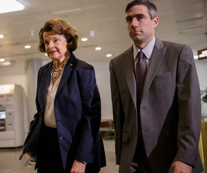 Senate Intelligence Committee Chair Sen. Dianne Feinstein, D-Calif. walks to a closed-door briefing with intelligence officials, June 4, 2014, on Capitol Hill in Washington.