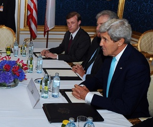 Secretary of State John Kerry meets with Iranian Foreign Minister Javad Zarif on July 13, 2014, for talks about Tehran's nuclear program.