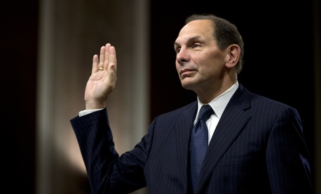 Robert McDonald, the Obama administration's nominee for Veterans Affairs Secretary, is sworn in prior to his nomination hearing on July 22, 2014.