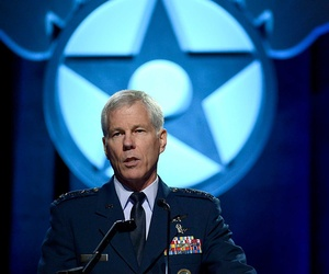 Gen. William Shelton, commander of Air Force Space Command, speaks about space and cyberspace at the Air Force Association Air Warfare symposium, on February 21, 2014.