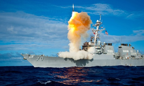 The USS Hopper, an Aegis-class destroyer, fires a Standard Missile 3 interceptor during Exercise Stellar Avenger.