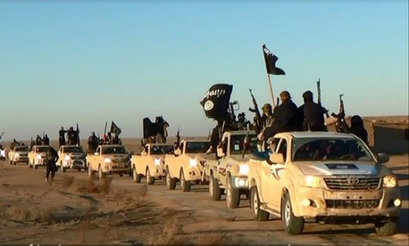 ISIL militants in a convoy drive into Iraq's Anbar Province, on January 10, 2014.