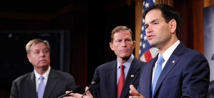 Sens. Marco Rubio, R-Fla., Lindsey Graham, R-S.C., and Richard Blumenthal, D-Conn., speak to reporters during a press conference on Thursday.