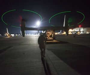 An MV-22B Osprey from the Special-Purpose Marine Air-Ground Task Force Crisis Response prepares to leave Naval Air Station Sigonella, Italy, to evacuate personnel from the U.S. Embassy in Tripoli, Libya on Saturday.