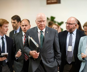 Senate Judiciary Committee Chairman Sen. Patrick Leahy walks to a closed door briefing on Capitol Hill.