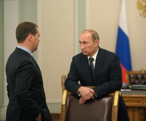 Russian President Vladimir Putin meets with Prime Minister Dmitry Medvedev at the Novo-Ogaryovo residence outside Moscow, on July 17, 2014.