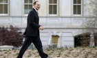 Bob McDonald leaves the White House after a meeting with business leaders.