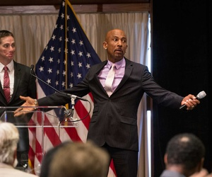 "Montel Williams speaks during ""The New Battleground: Veterans"" event hosted by Defense One and IAVA, on July 30, 2014."