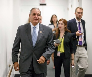 Rep. Jeff Miller, R-Fla., leaves a caucus meeting on Capitol Hill on July 25, 2014.